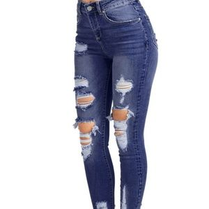 Blue Age High Waist Distressed Denim Skinny Jeans
